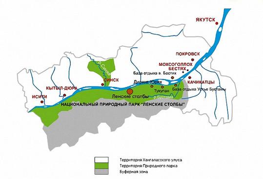 Карта-схема природного парка Ленские столбы в Якутии